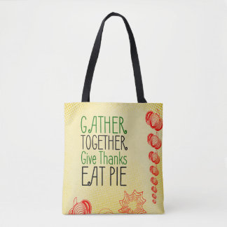 Thanksgiving retro design with red pumpkins tote bag