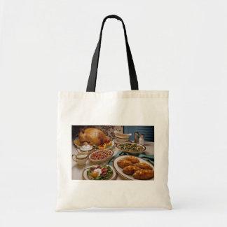 Thanksgiving roast turkey dinner tote bag