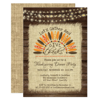 Thanksgiving Rustic Wood, Burlap & String Lights Card