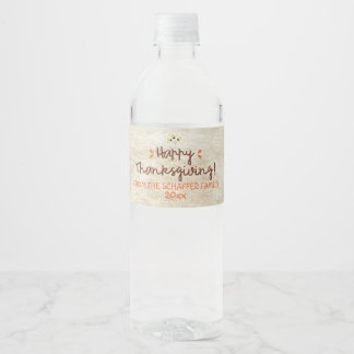Thanksgiving, Rustic Wreath Water Bottle Label