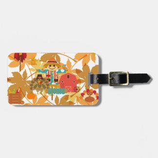 thanksgiving scarecrow luggage tag
