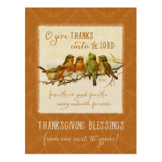 Thanksgiving Scripture Birds -Vintage Reproduction Postcard