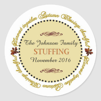 Thanksgiving Sentiments Round Stuffing Labels