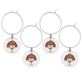 Thanksgiving Set of Four Wine Charms