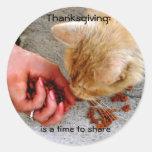 Thanksgiving Sharing with Animals Round Sticker