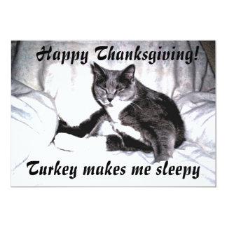 Thanksgiving Sleepy Cat 13 Cm X 18 Cm Invitation Card