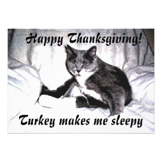 Thanksgiving Sleepy Cat Personalized Announcements