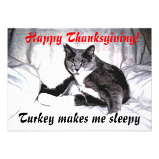 Thanksgiving Sleepy Cat Custom Invite