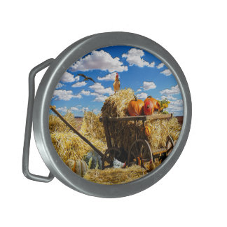 Thanksgiving Straw Wagon in the Field Oval Belt Buckle