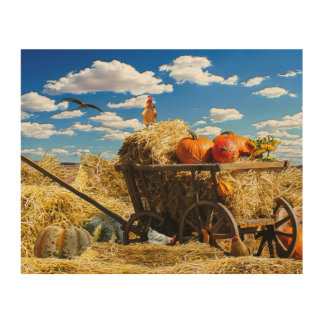 Thanksgiving Straw Wagon in the Field Wood Wall Decor