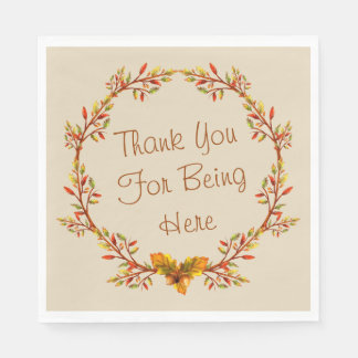 """Thanksgiving Thank You For Being Here Napkins 6.5"""" Disposable Napkin"""