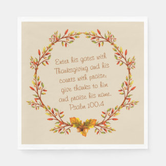 "Thanksgiving Thankful Bible Verse Napkins 6.5"" Disposable Napkins"