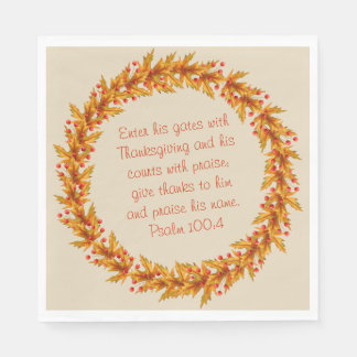 "Thanksgiving Thankful Bible Verse Napkins 6.5"" Paper Serviettes"
