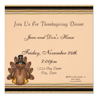 Thanksgiving Tom Turkey Holiday 13 Cm X 13 Cm Square Invitation Card
