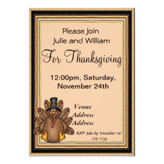 Thanksgiving Tom Turkey Holiday 13 Cm X 18 Cm Invitation Card