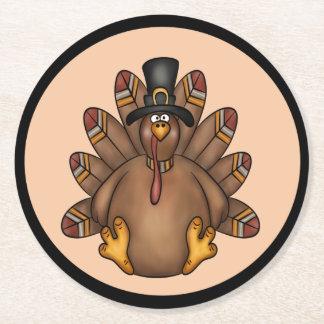 Thanksgiving Tom Turkey Holiday Round Paper Coaster