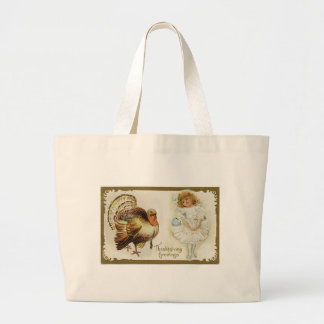 Thanksgiving Turkey and Little Girl Jumbo Tote Bag