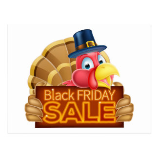 Thanksgiving Turkey Black Friday Sale Sign Postcard