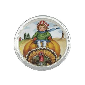 Thanksgiving Turkey Boy Riding Pumpkin