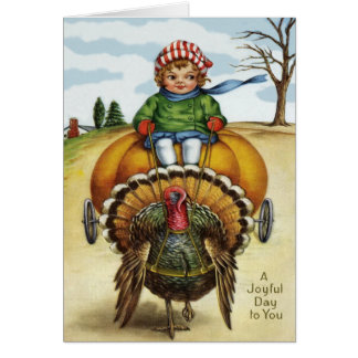 Thanksgiving Turkey Boy Riding Pumpkin Card