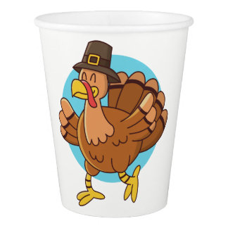 Thanksgiving Turkey custom text paper cups