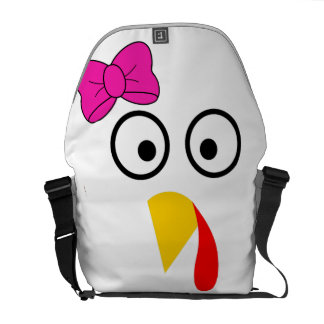 Thanksgiving Turkey Face with Bow Funny Courier Bag