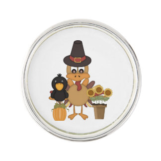 Thanksgiving Turkey Friends Lapel Pin