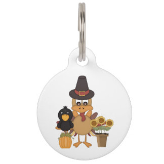 Thanksgiving Turkey Friends Pet ID Tag