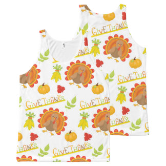 Thanksgiving Turkey Give Thanks All-Over Print Singlet