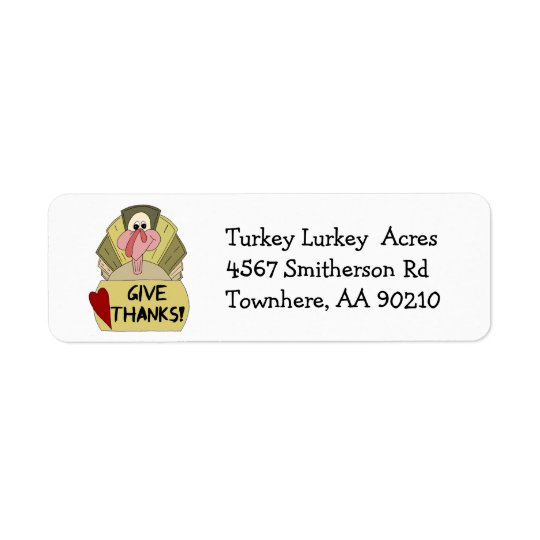 Thanksgiving Turkey Give Thanks Cartoon Return Address Label