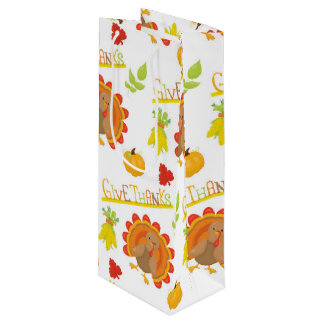 Thanksgiving Turkey Give Thanks Wine Gift Bag