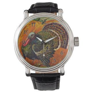 Thanksgiving Turkey in front of a Orange Pumpkin Watch