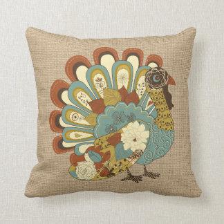 Thanksgiving Turkey on faux Burlap Pillow
