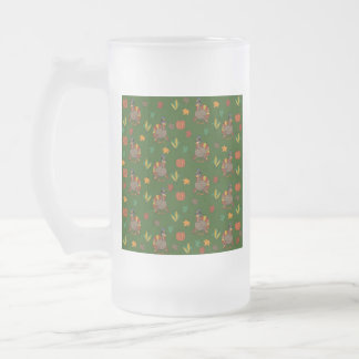Thanksgiving Turkey pattern Frosted Glass Beer Mug
