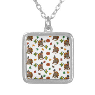 Thanksgiving Turkey pattern Silver Plated Necklace