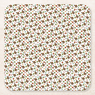 Thanksgiving Turkey pattern Square Paper Coaster