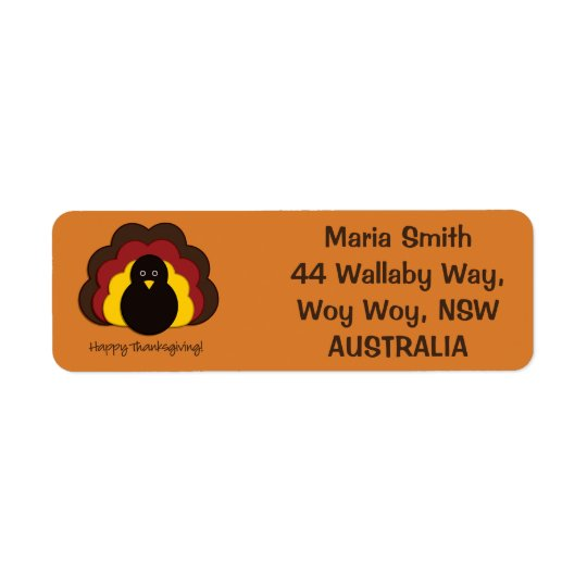 Thanksgiving turkey return address label