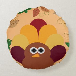 Thanksgiving Turkey Round Pillow