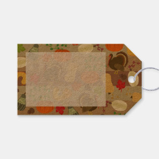 Thanksgiving Turkey Squash Autumn Harvest Pattern Gift Tags