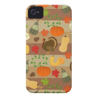 Thanksgiving Turkey Squash Autumn Harvest Pattern iPhone 4 Cover