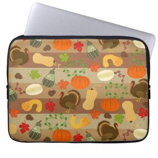 Thanksgiving Turkey Squash Autumn Harvest Pattern Laptop Sleeve