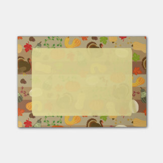 Thanksgiving Turkey Squash Autumn Harvest Pattern Post-it Notes