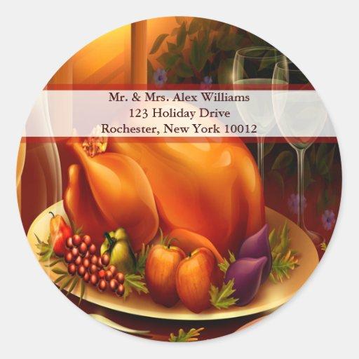 Thanksgiving Turkey & Wine Holiday Address Label Round Stickers