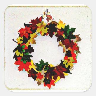 Thanksgiving Turkey Wreath Square Sticker