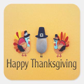 Thanksgiving Turkeys Pilgrim Square Sticker