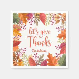 THANKSGIVING WATERCOLOR FOLIAGE FRAME PERSONALIZED PAPER SERVIETTES