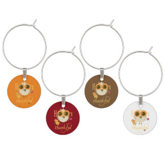 Thanksgiving Wine Charms Owls give thanks gifts