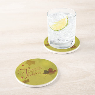 Thanksgiving Wishes Leaves - Sandstone Coaster