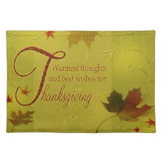 Thanksgiving Wishes Typography Leaf Cloth Placemat