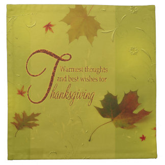 Thanksgiving Wishes Typography Leaves Cloth Napkin